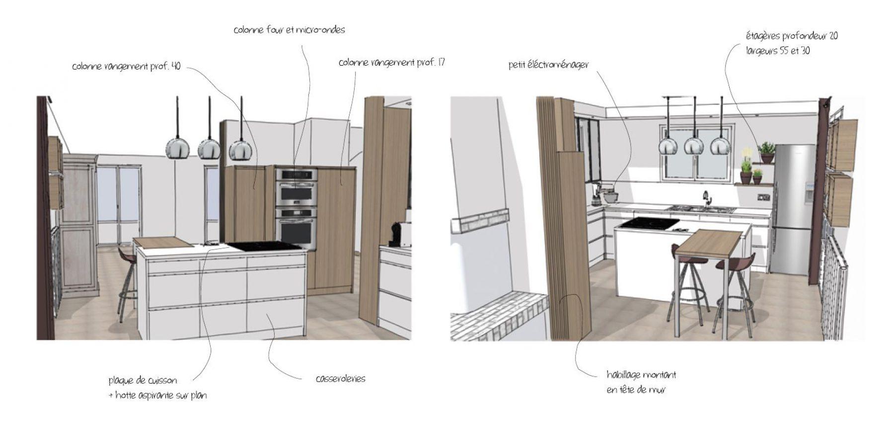 Plan de travail cuisine grande longueur cuisine avec for Hauteur ilot central pour manger